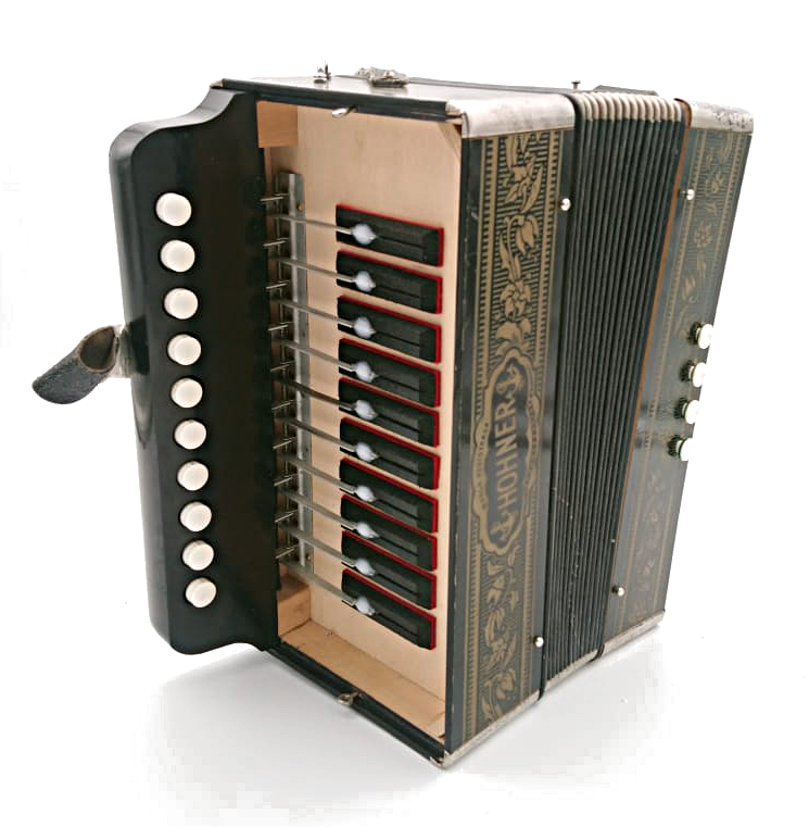 Compact Hohner 3-voice Marca in the key of D.